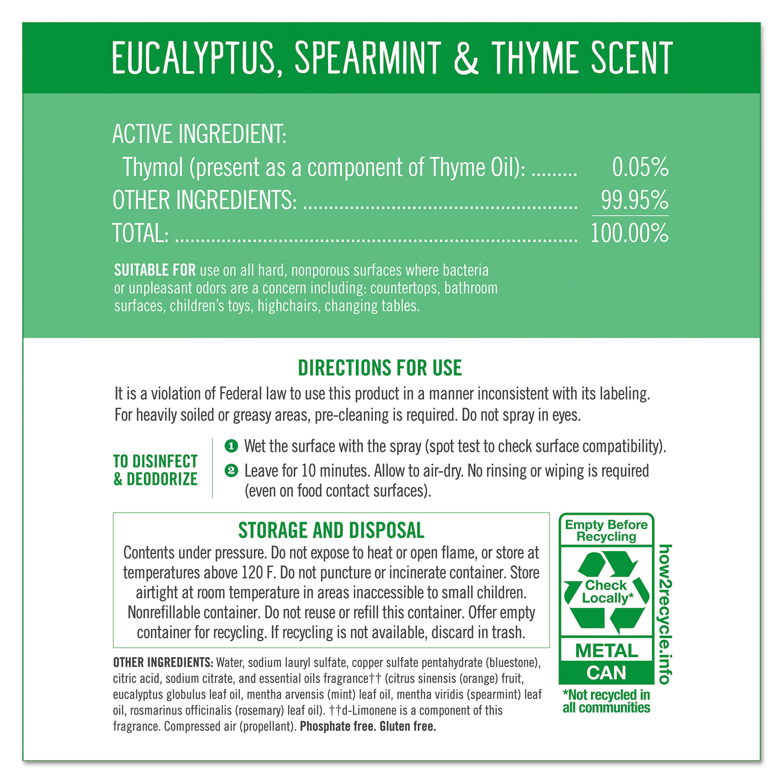 Disinfectant Aerosol Sprays, Eucalyptus/Spearmint/Thyme, 13 9 oz