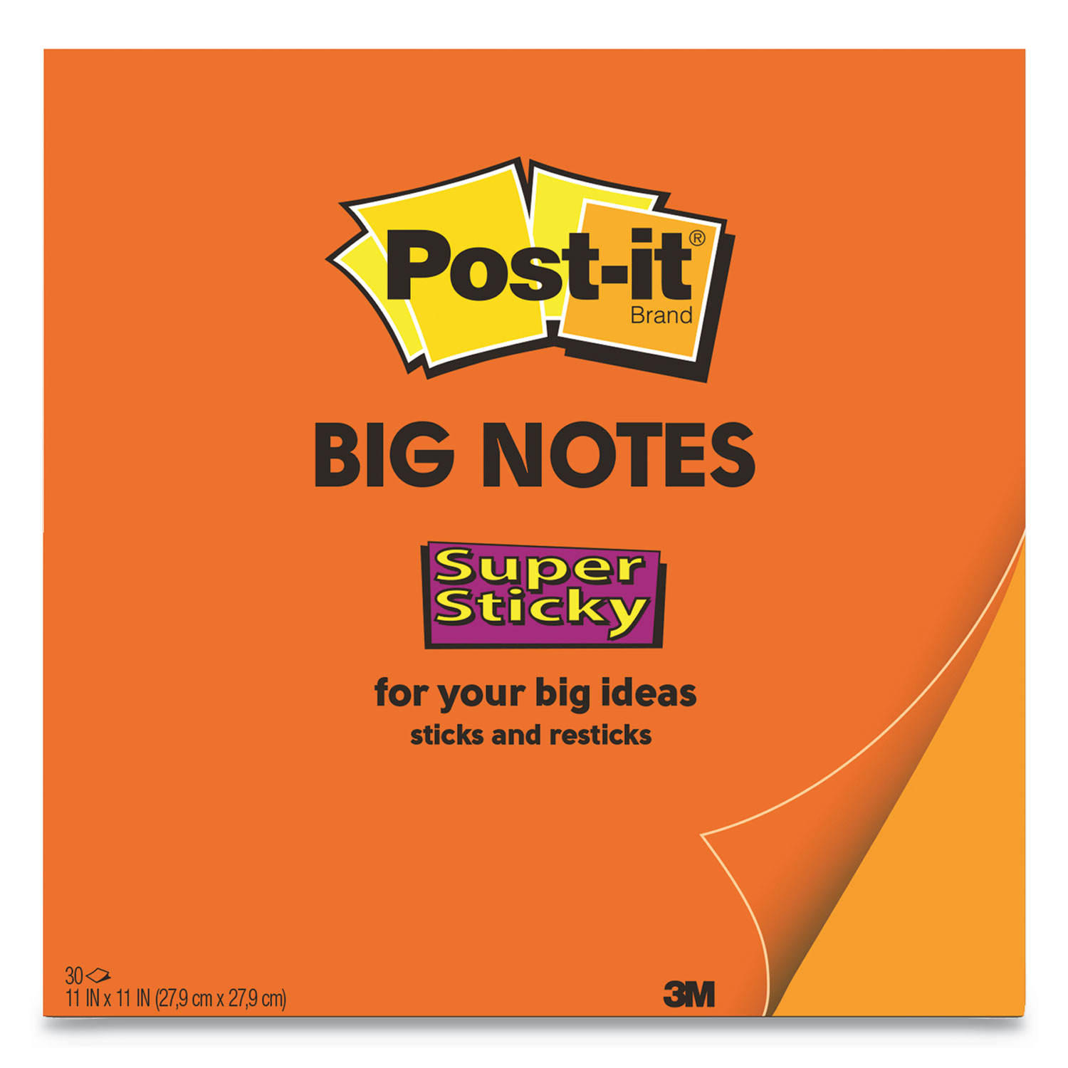 Big Notes, 11 x 11, Orange, 30 Sheets