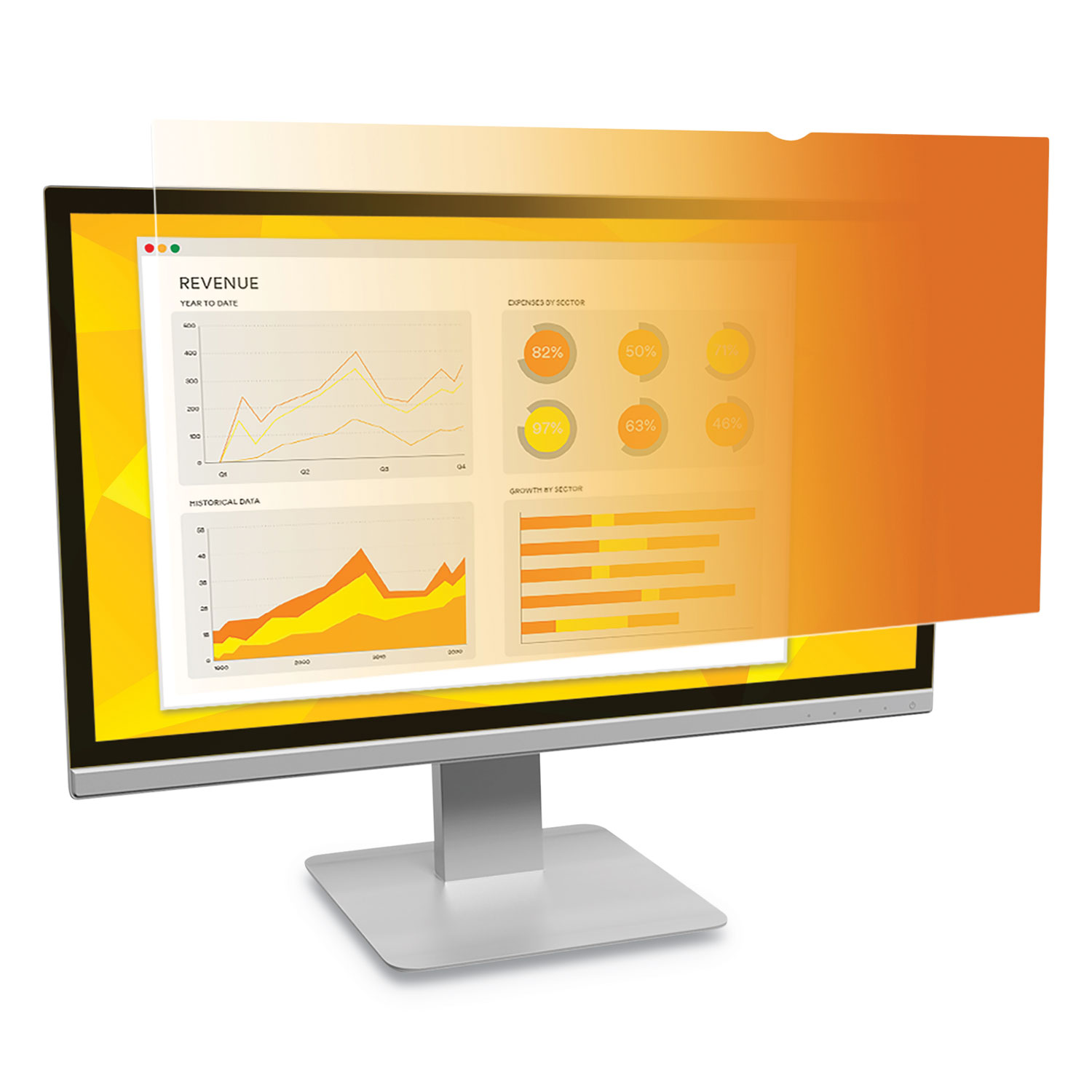 "Gold Frameless Privacy Filter For 24"" Widescreen Monitor, 16:9 Aspect Ratio"