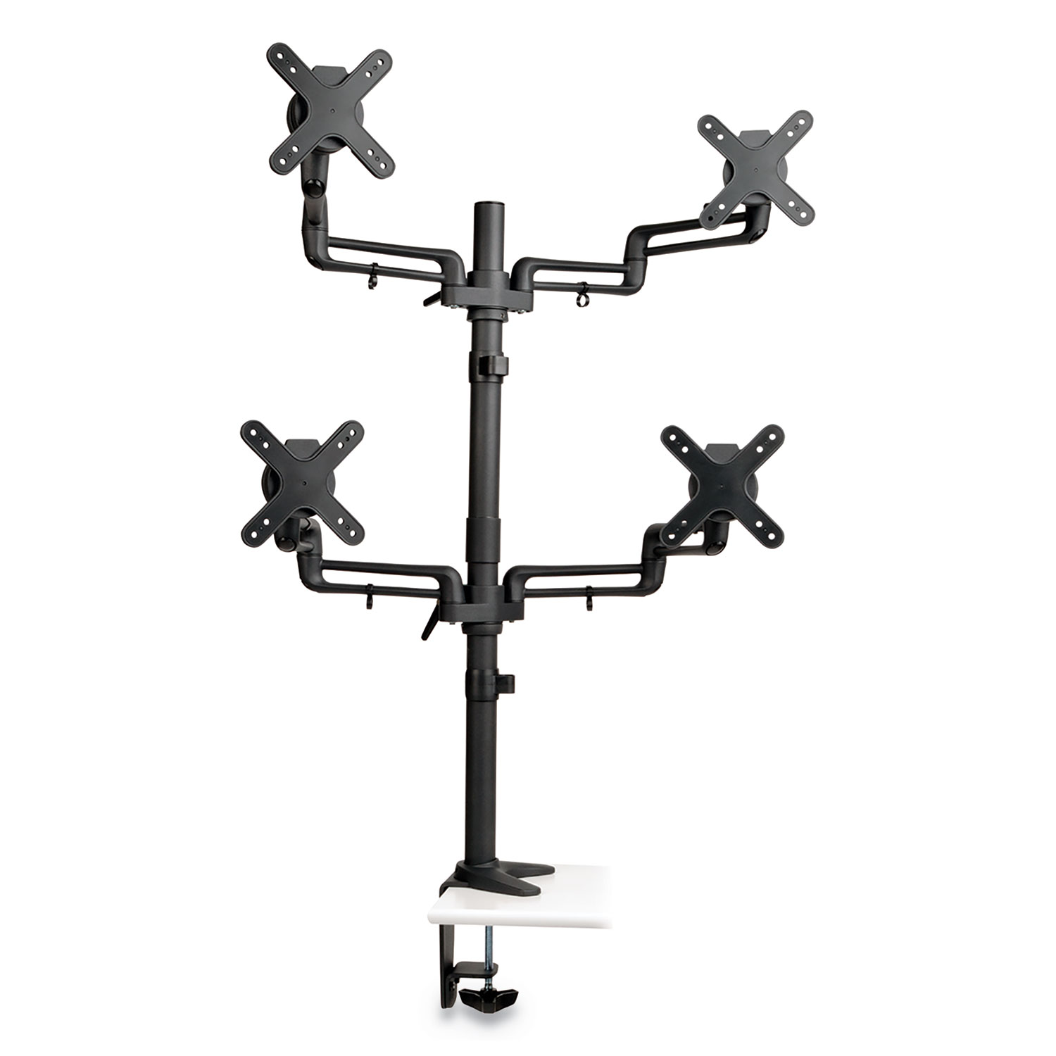 """Quad Full Motion Flex Arm Desk Clamp for 13"""" to 27"""" Monitors, up to 22 lbs/Arm"""