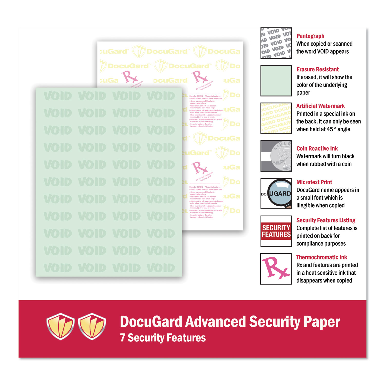 Medical Security Papers, 24lb, 8 5 x 11, Green, 500/Ream