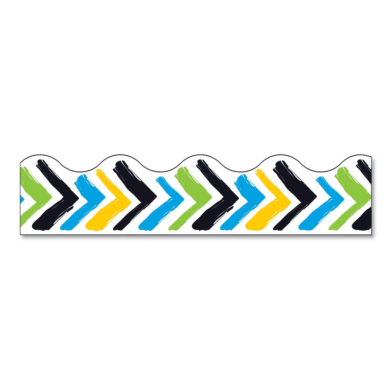 "Terrific Trimmers Print Board Trim, 2 1/4"" x 41"", Bold Strokes Chevron, Assorted"