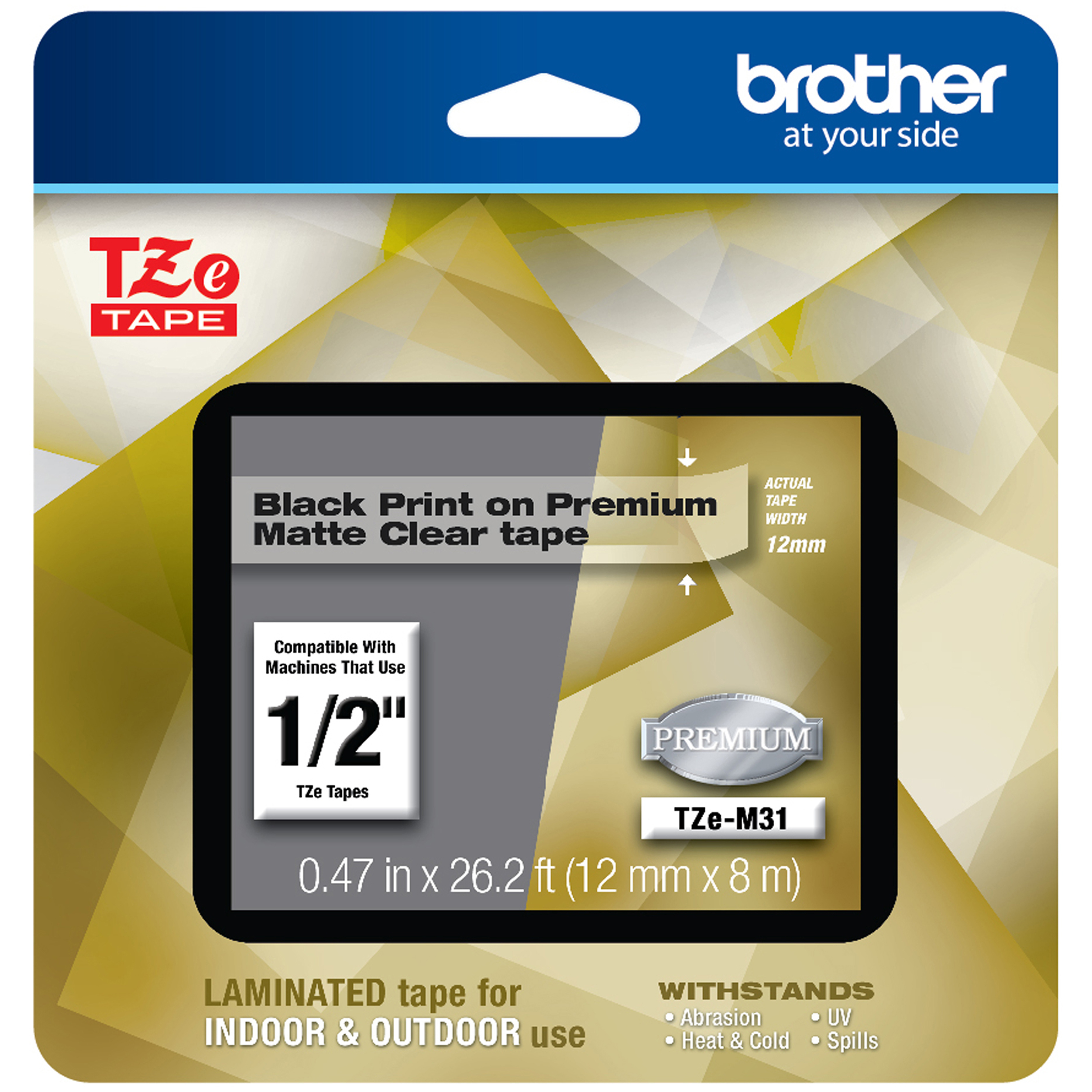 TZe Premium Laminated Tape, 1/2″ X 26 1/5 Ft, Black On Clear