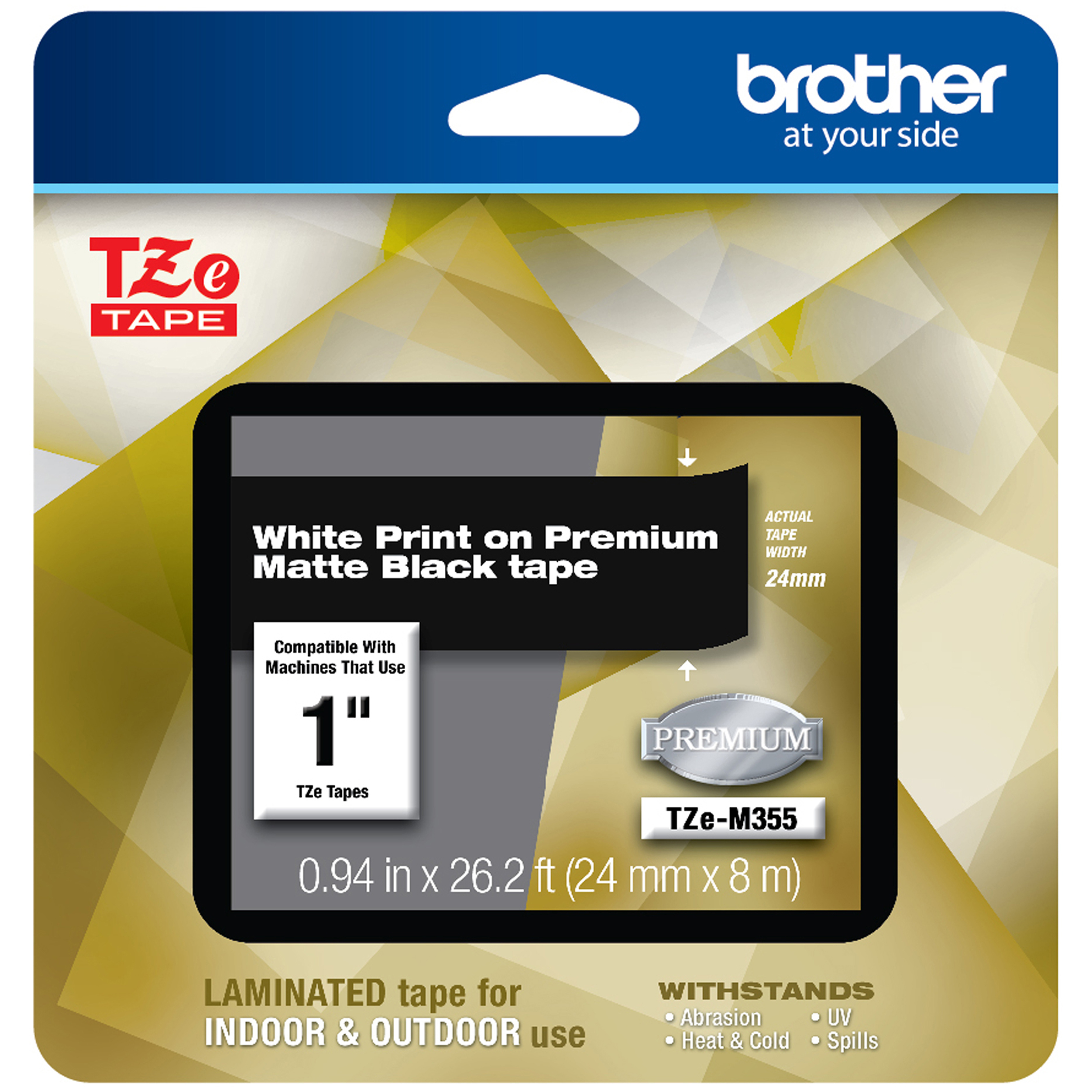TZe Premium Laminated Tape, 1″ X 26 1/5 Ft, White On Black