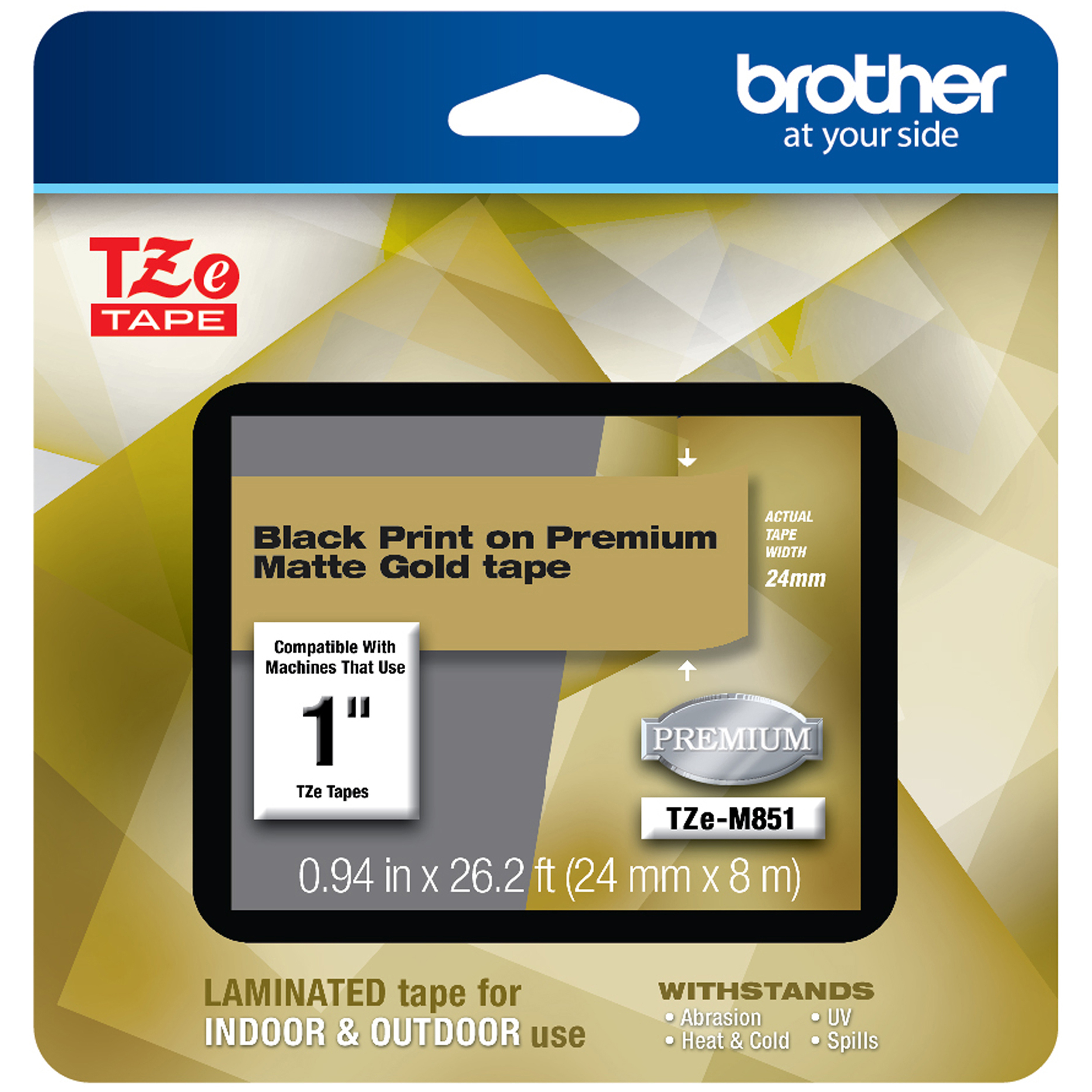 TZe Premium Laminated Tape, 1″ X 26 1/5 Ft, Black On Gold