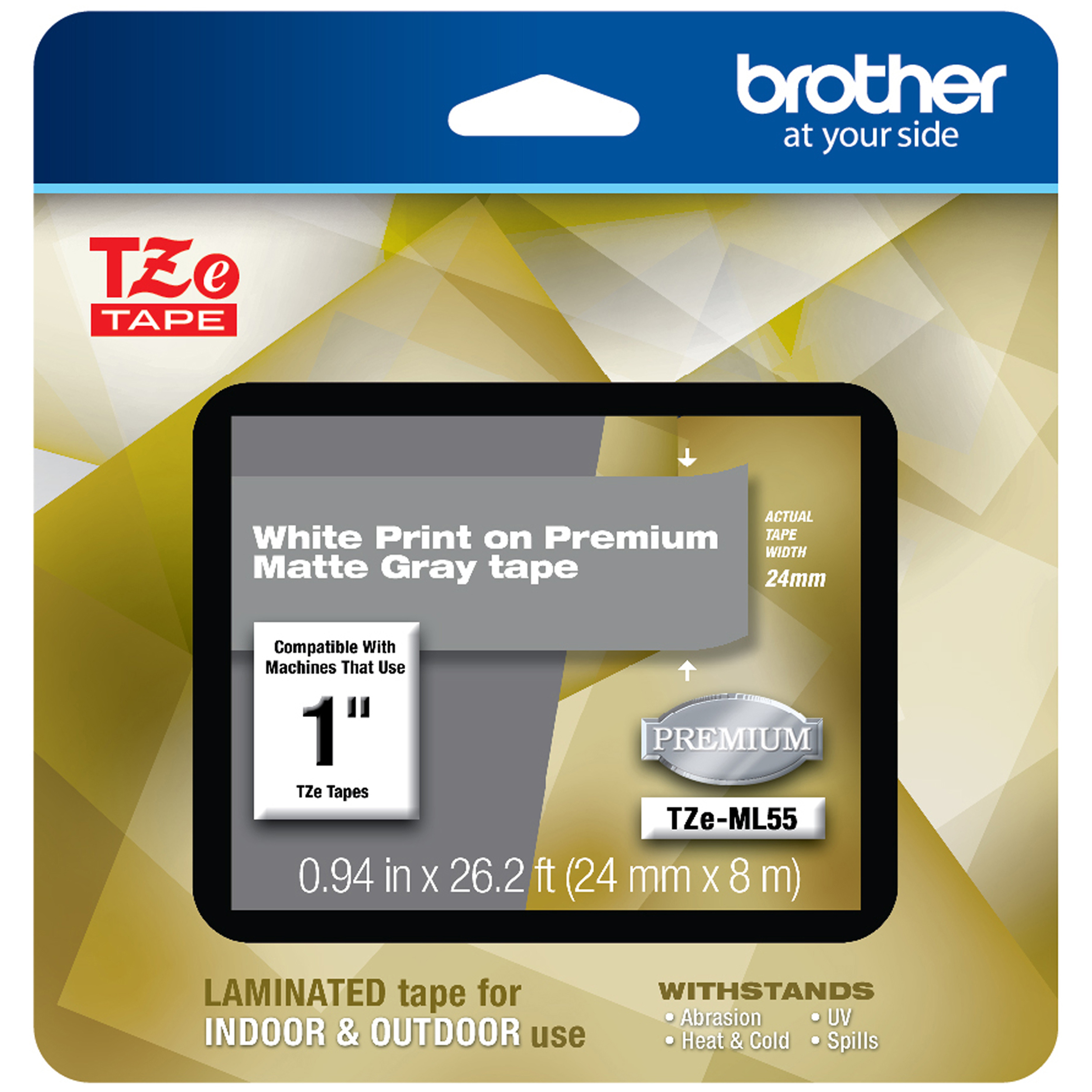 TZe Premium Laminated Tape, 1″ X 26 1/5 Ft, White On Gray