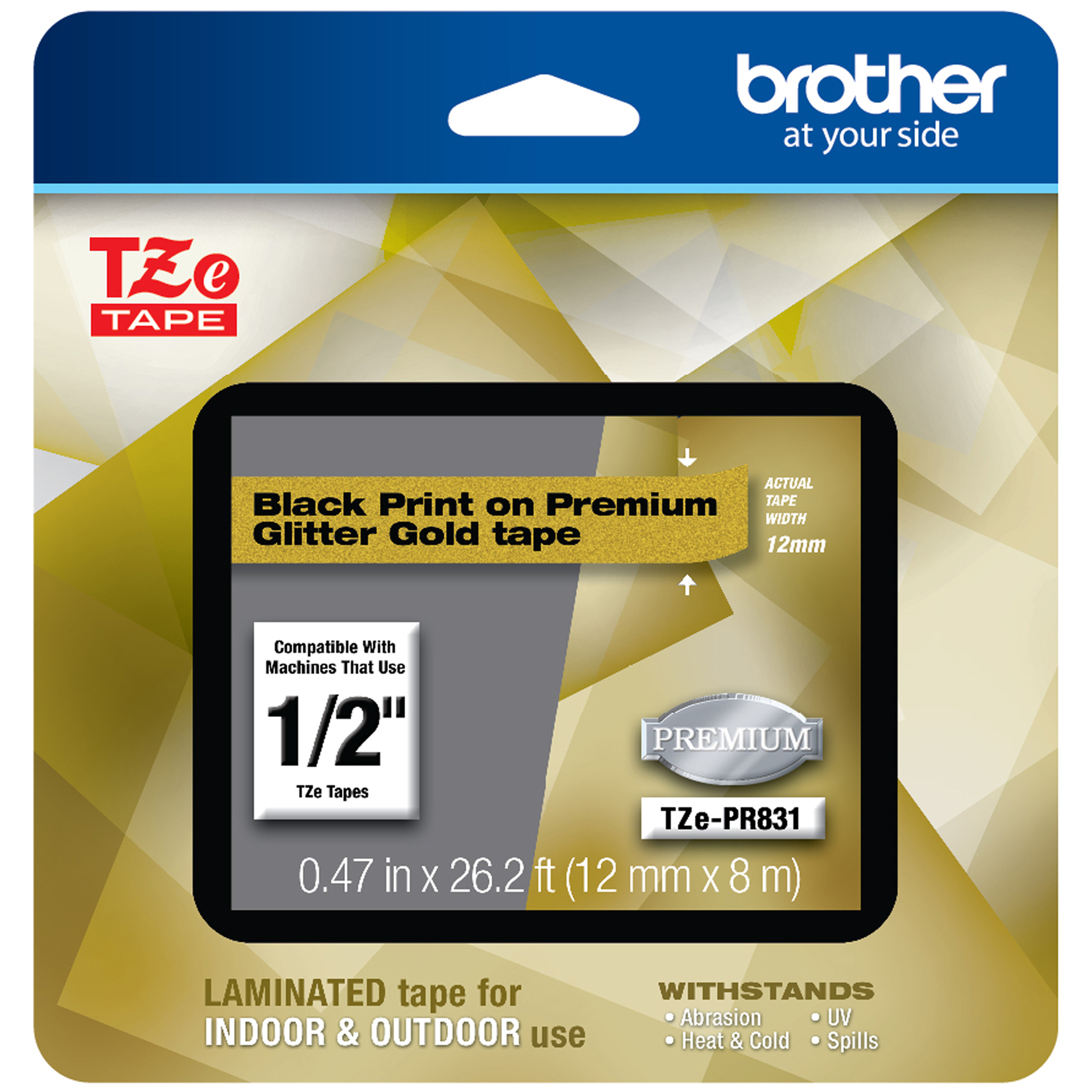 TZe Premium Laminated Tape, 12mm X 8m, Black On Gold