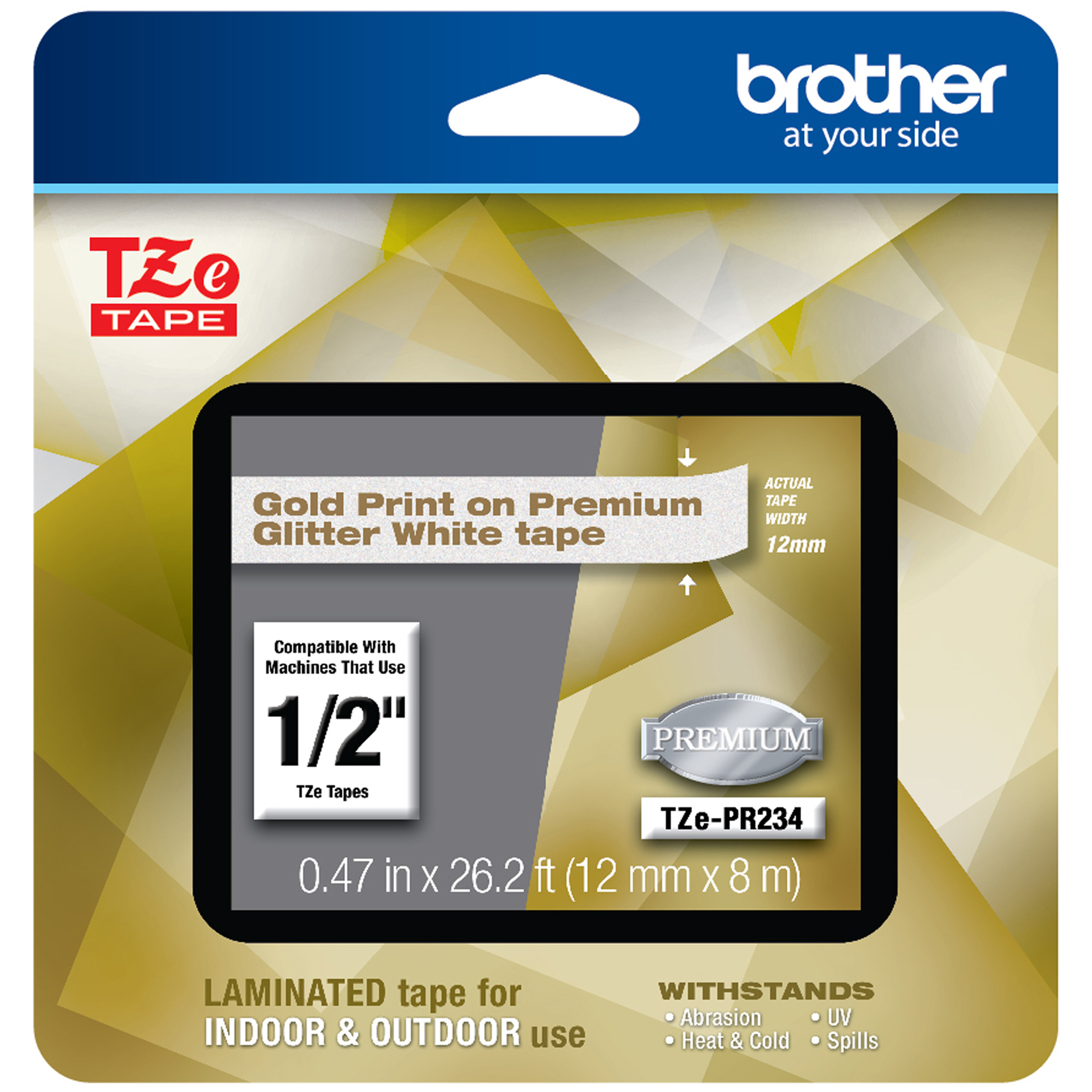 TZe Premium Laminated Tape, 12mm X 8m, Gold On White