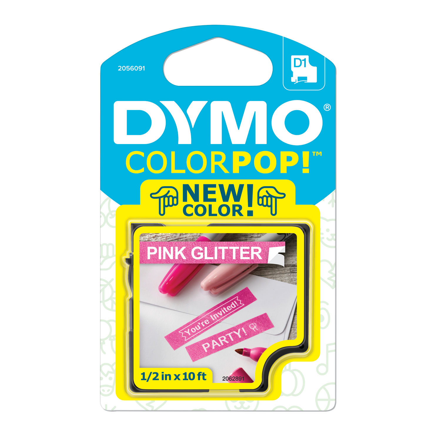 "COLORPOP! Label Maker Tape, 0.5"" x 10 ft, White on Pink"
