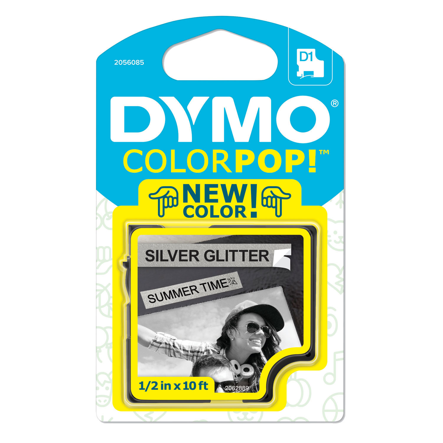 "COLORPOP! Label Maker Tape, 0.5"" x 10 ft, Black on Silver"