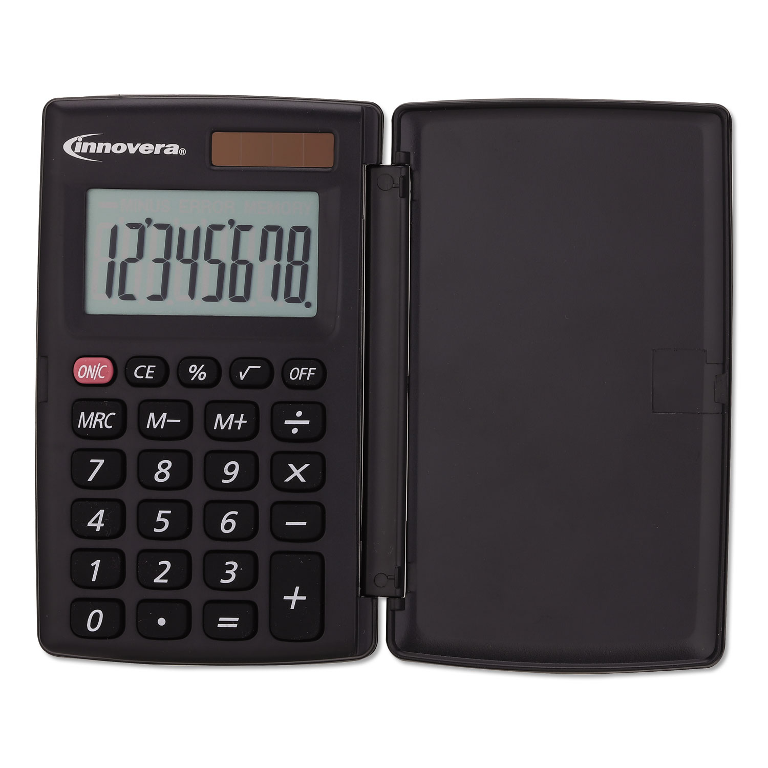 15921 Pocket Calculator with Hard Shell Flip Cover, 8-Digit, LCD