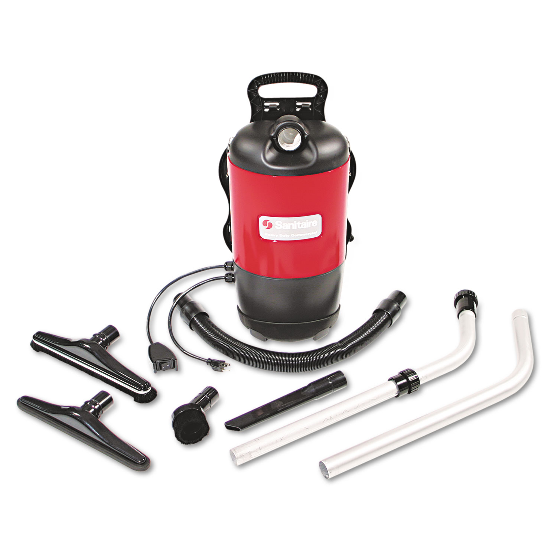 TRANSPORT QuietClean Backpack Vacuum, 11.5 lb, Red