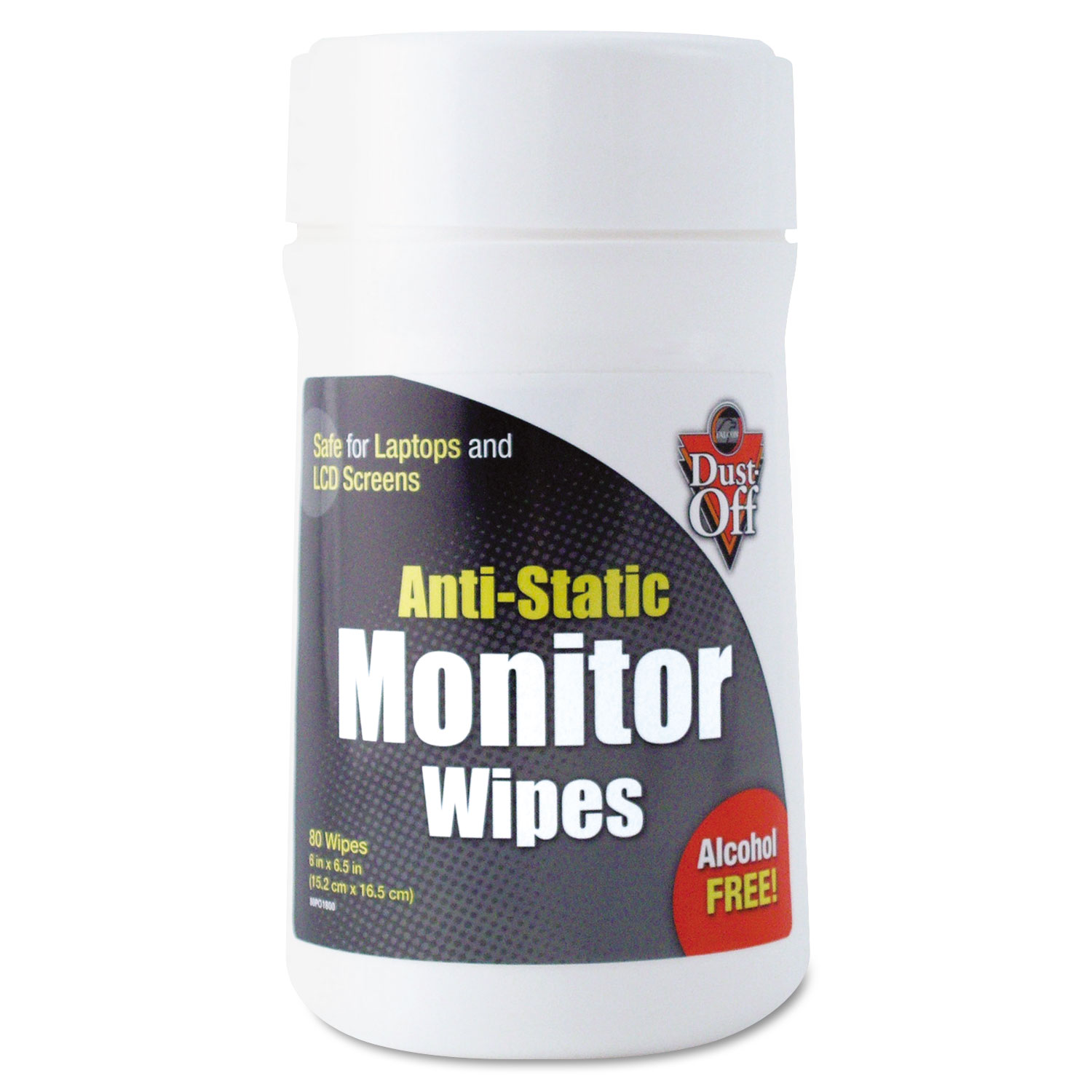 Premoistened Monitor Cleaning Wipes, Cloth, 6 x 6.5, 80/Tub