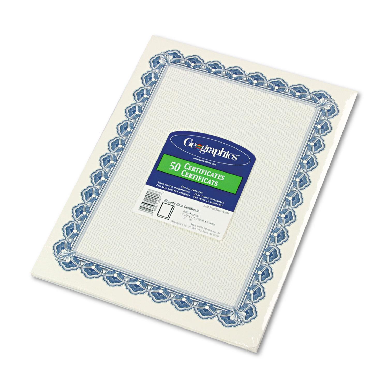 Parchment Paper Certificates, 8-1/2 x 11, Blue Royalty Border, 50/Pack