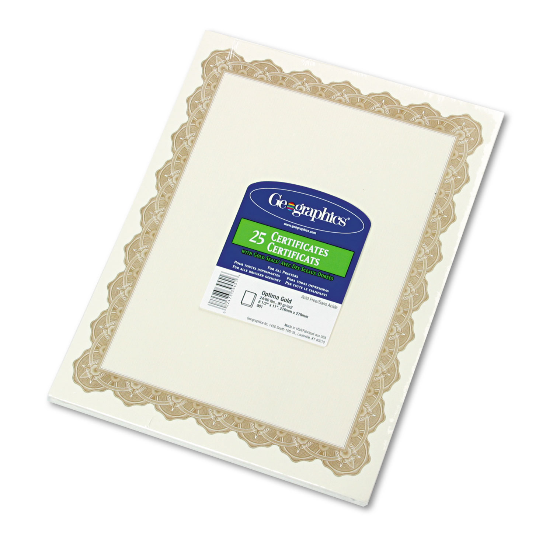 Parchment Paper Certificates, 8-1/2 x 11, Optima Gold Border, 25/Pack