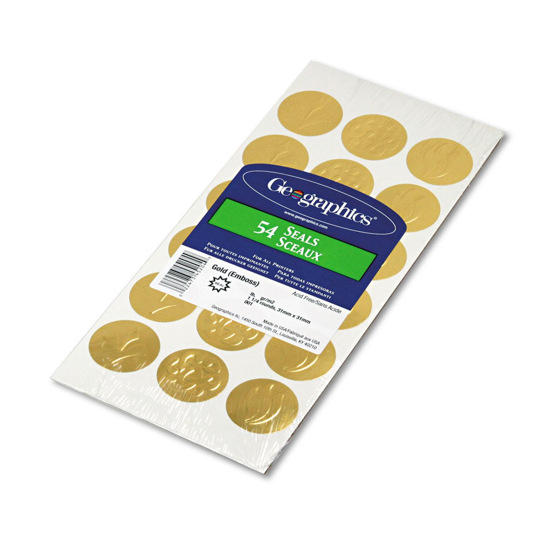 "Self-Adhesive Embossed Seals, 1.25"" dia., Gold, 18/Sheet, 3 Sheets/Pack"