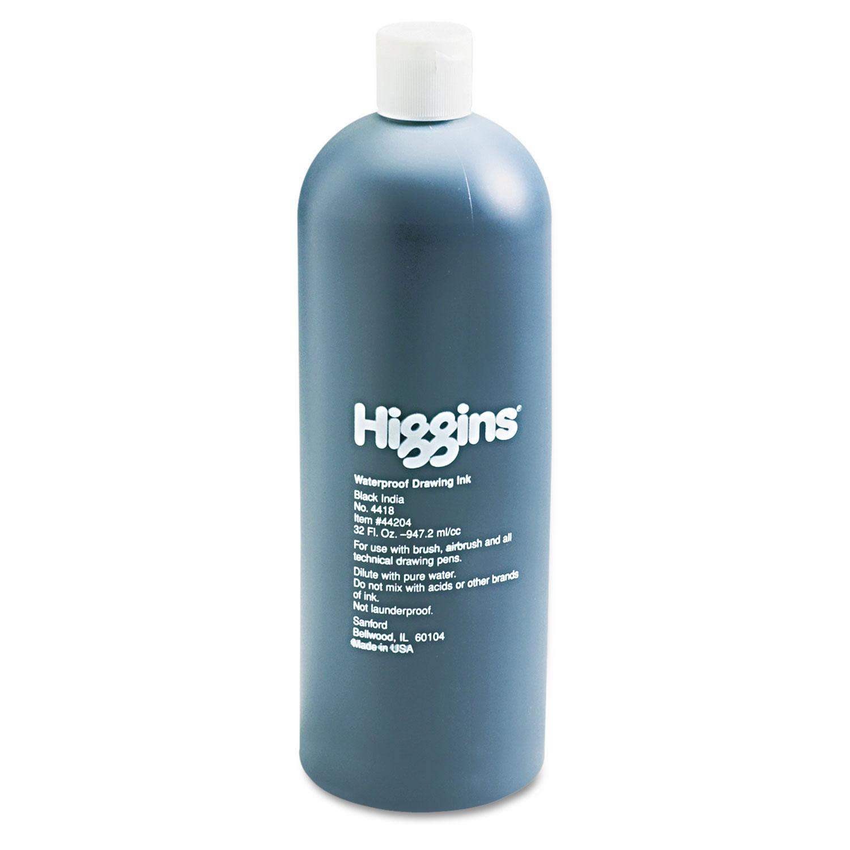 Waterproof Pigmented Drawing Ink, Black, 32 oz Bottle