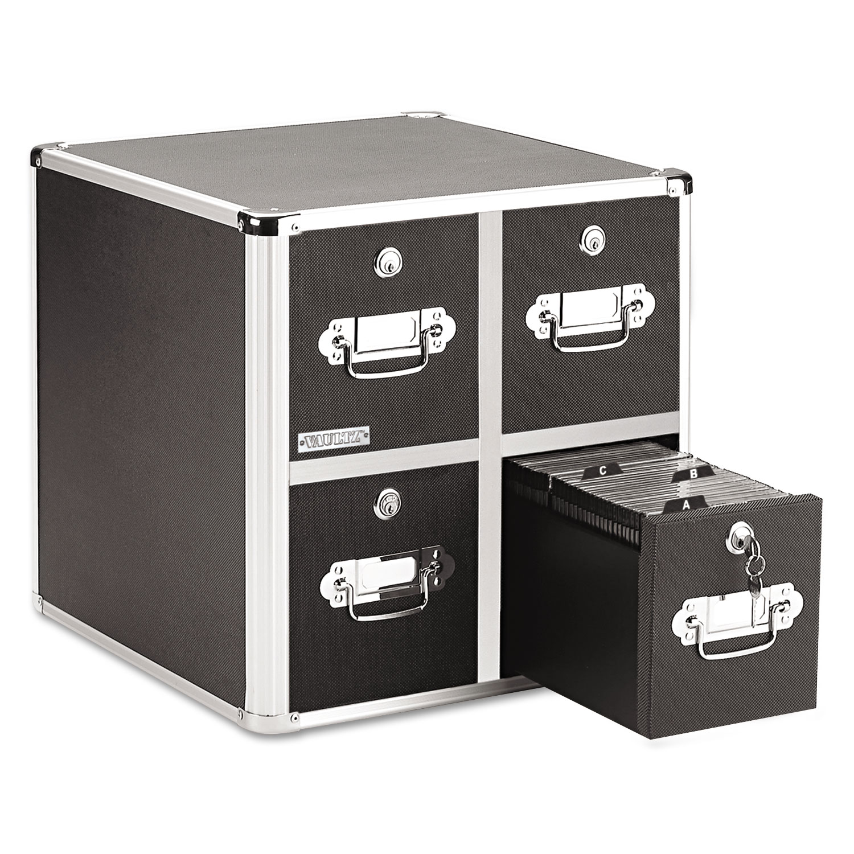 4-Drawer CD File Cabinet, Holds 660 Folders or 240 Slim/120 Standard Cases, Black