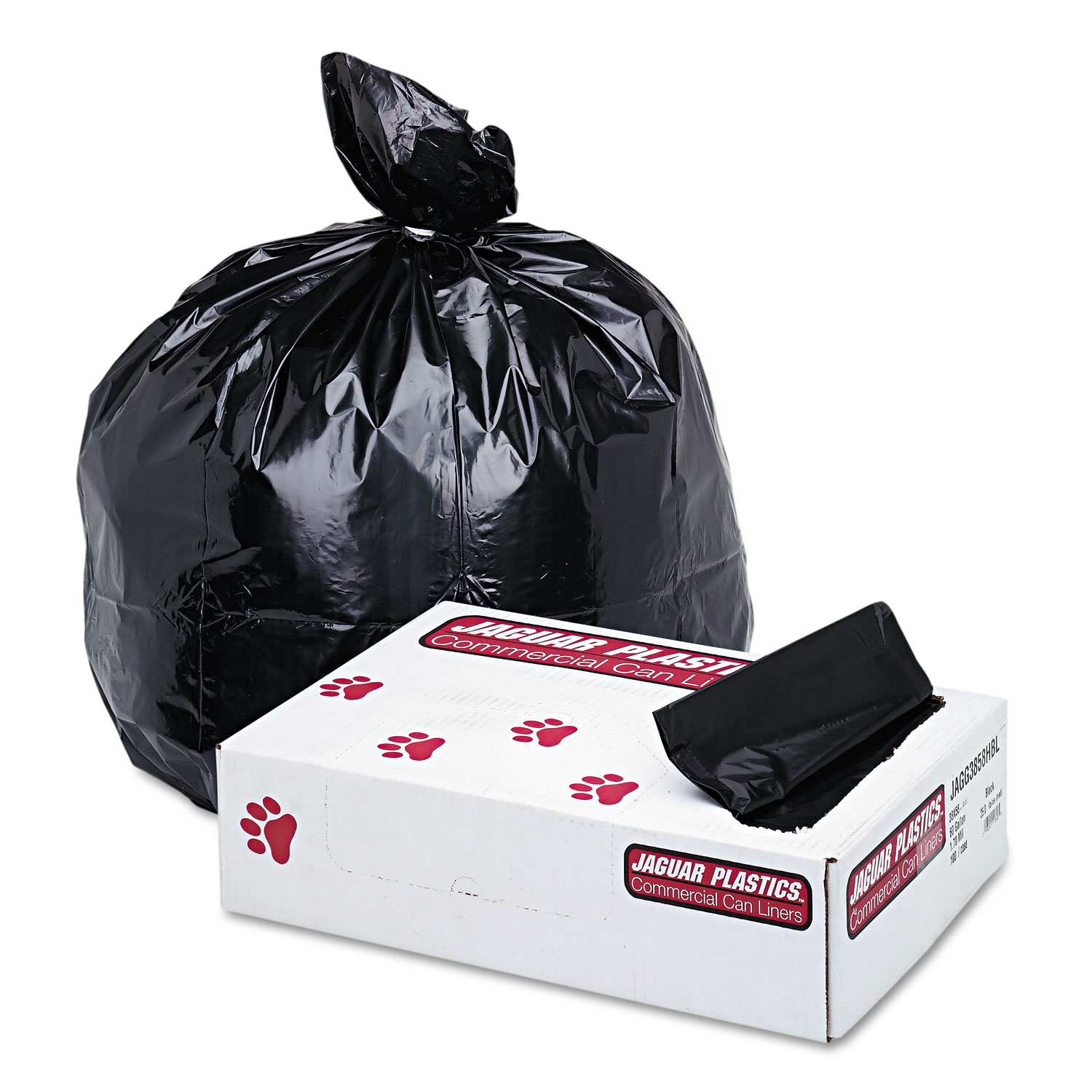 """Industrial Strength Low-Density Commercial Can Liners, 60 gal, 1.7 mil, 38"""" x 58"""", Black, 100/Carton"""