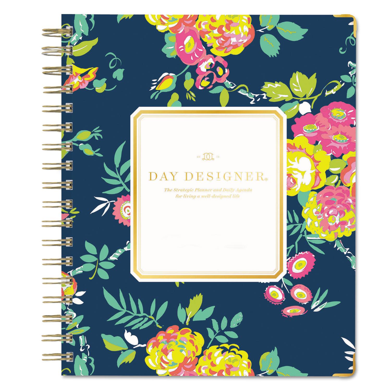 Day Designer Gold Corner Weekly Monthly Planner 7 X 9 Navy Floral
