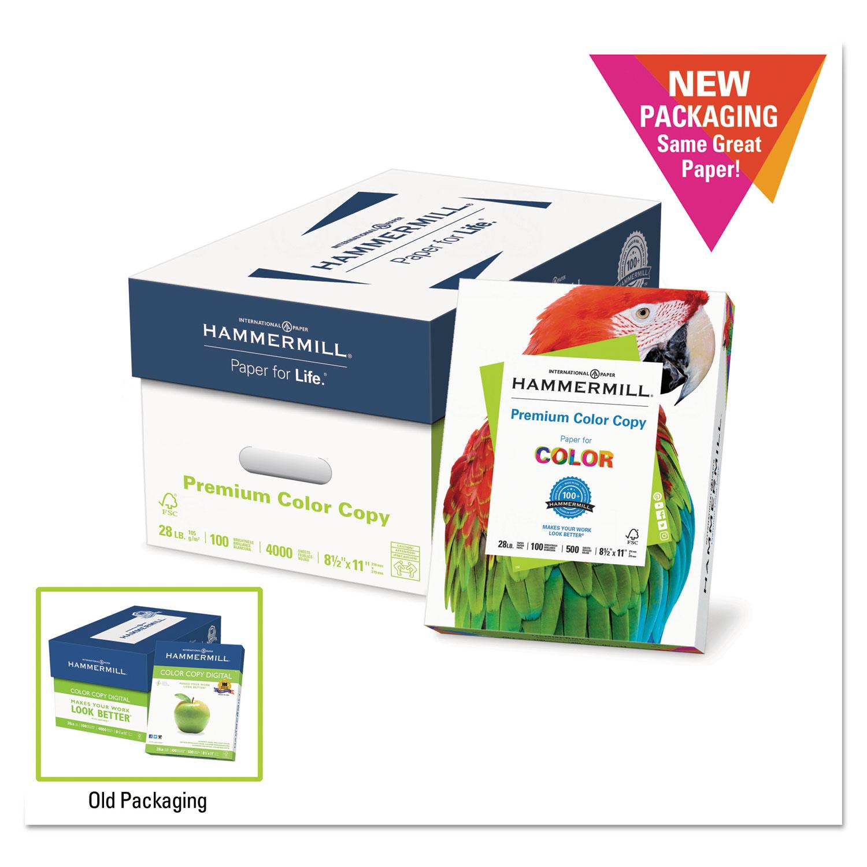 Premium Color Copy Paper, 100 Bright, 28lb, Legal, Photo White, 500