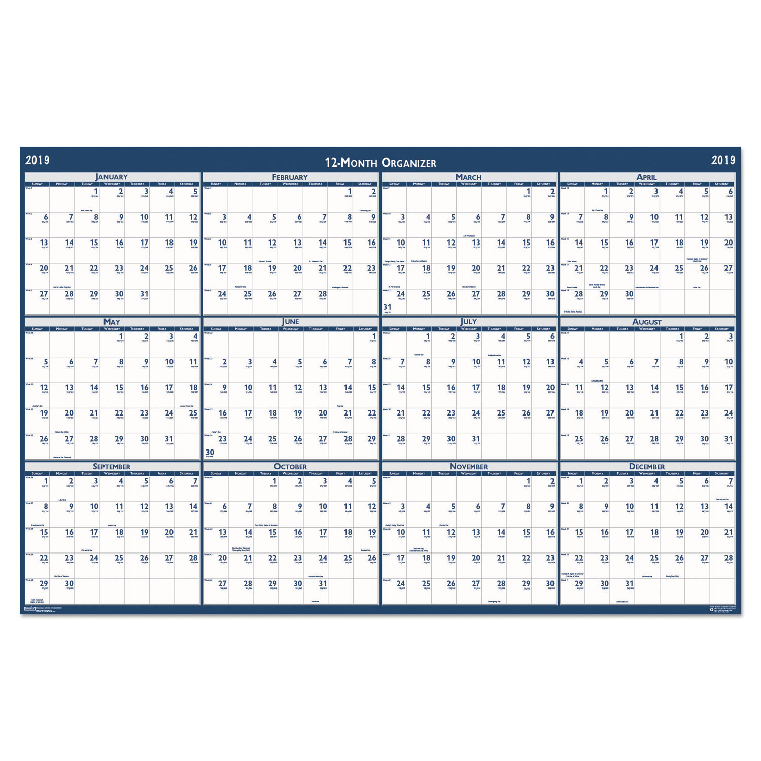 recycled poster style reversible erasable yearly wall calendar by