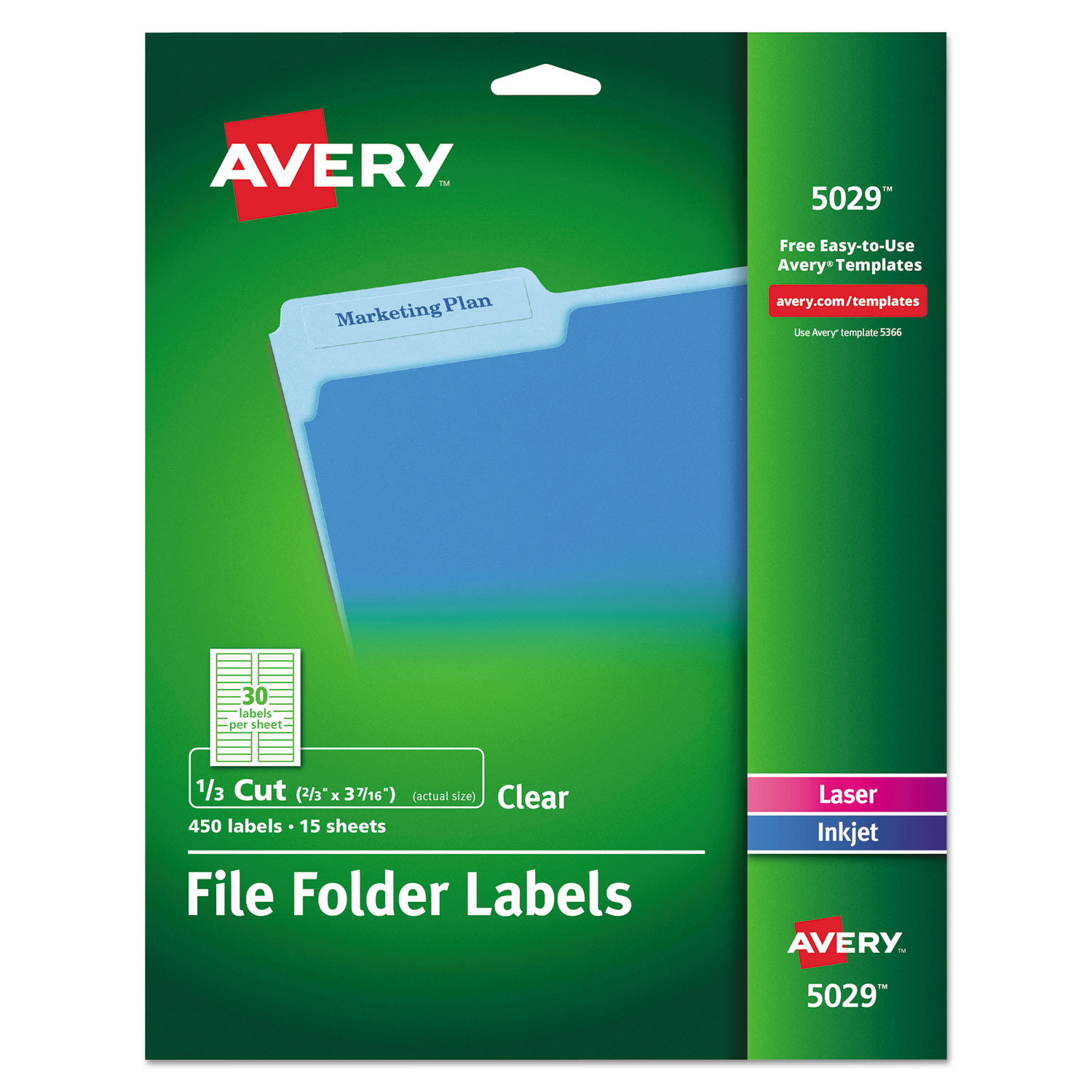 Clear File Folder Labels by Avery AVE5029 OnTimeSuppliescom