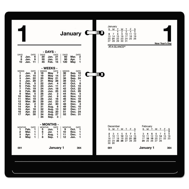 Financial Desk Calendar Refill, 3 1/2 x 6, White, 2019 - Snap Supplies