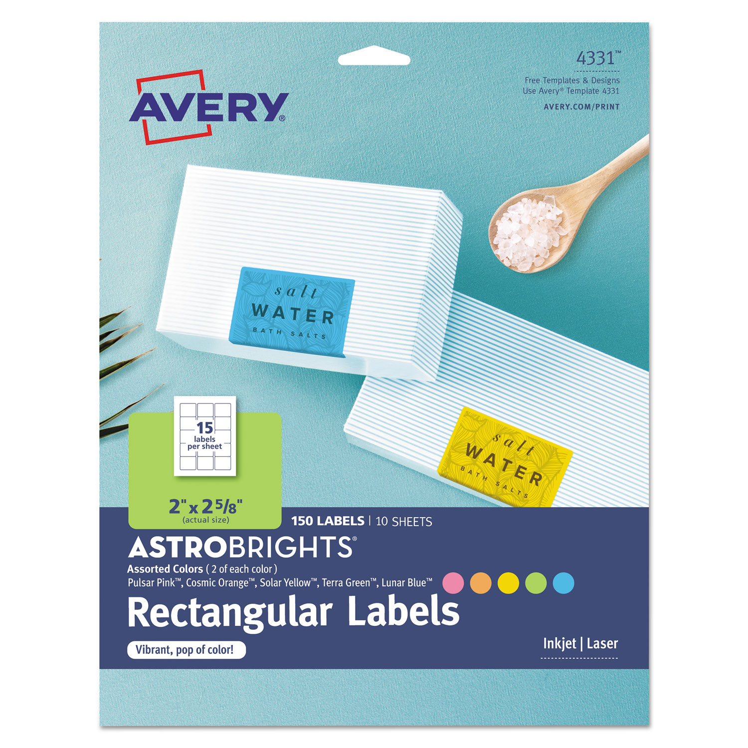 Color Easy Peel Labels, 2 x 2 5/8, Assorted, 15/Sheet, 10