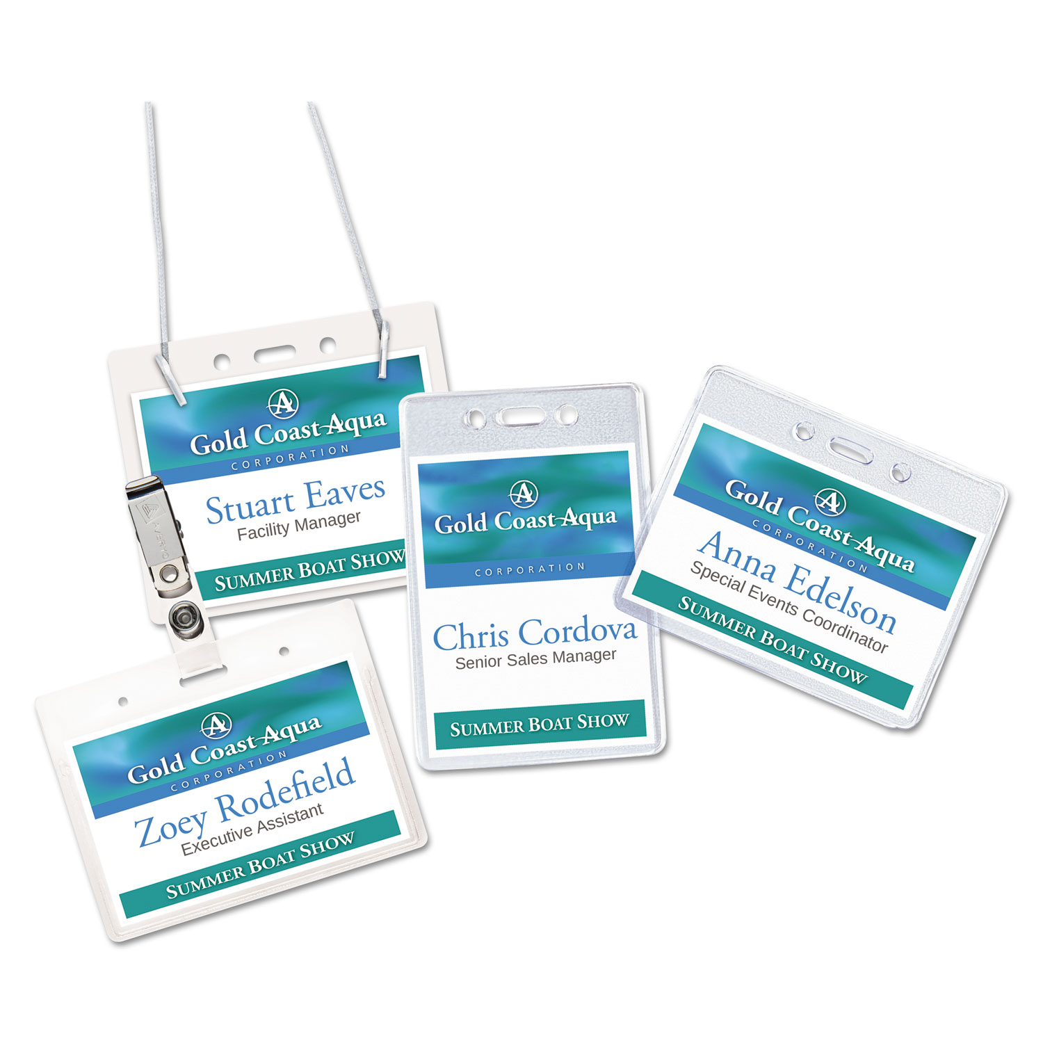 Secure Top Hanging-Style Badge Holders, Horizontal, 4w x 3h, Clear, 100/Box