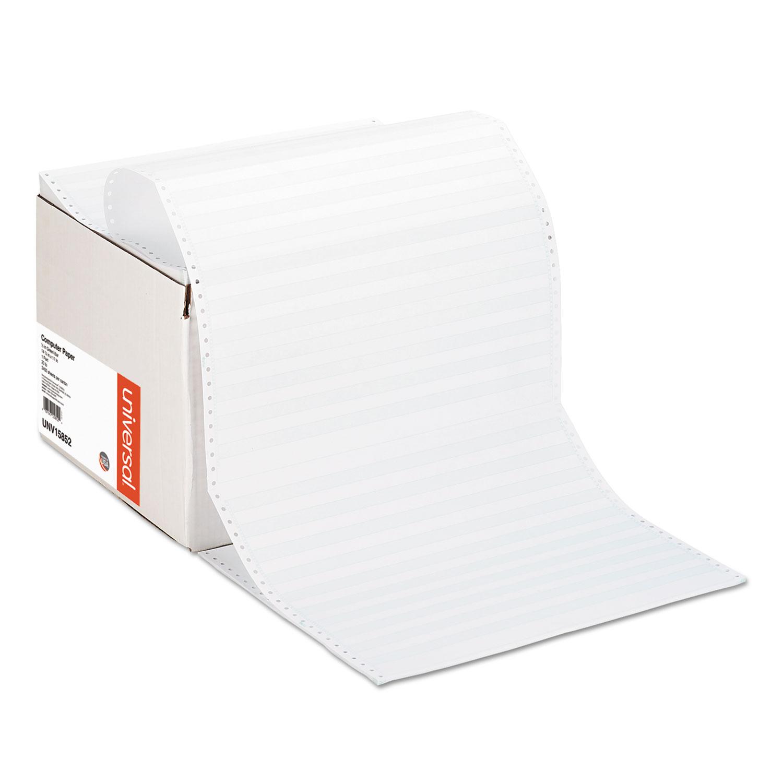 Printout Paper, 1-Part, 20lb, 14.88 x 11, White/Green Bar, 2, 400/Carton