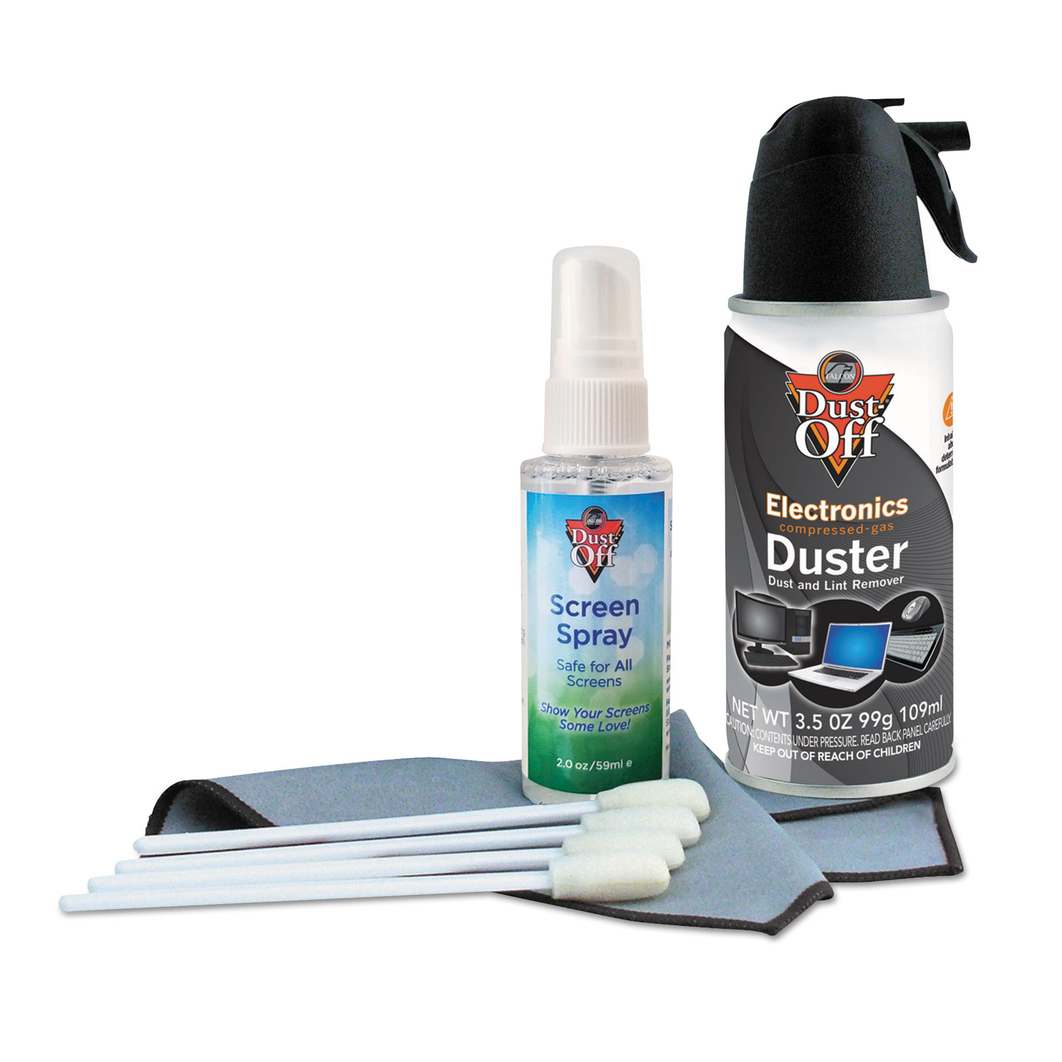 Premium Keyboard Cleaning Kit, 50 ML Bottle, 5 1/4″ X 7 1/2″ Cloth, 4 Swabs