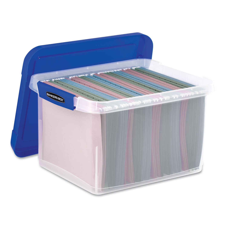 "Heavy Duty Plastic File Storage, Letter/Legal Files, 14"" x 17.38"" x 10.5"", Clear/Blue"