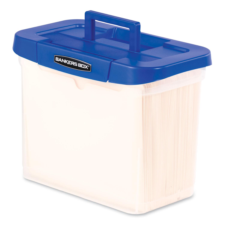 Heavy-Duty Portable File Box, Letter, 14 1/4 X 8 5/8 X 11 1/16, Clear/Blue