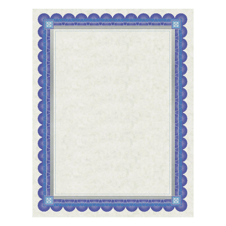 Parchment Certificates, Academic, Ivory w/ Blue & Silver-Foil Border, 8 1/2 x 11, 15/Pack