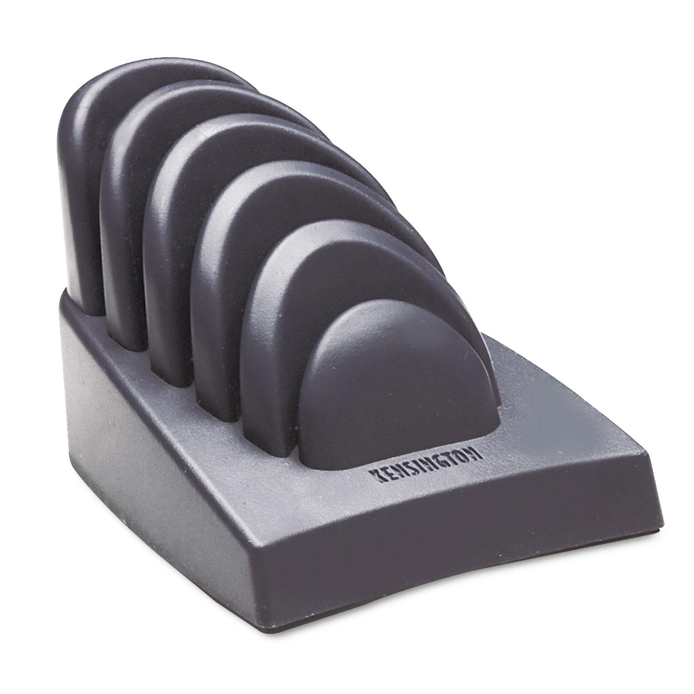 InSight Priority Puck Five-Slot Desktop Copyholder, Plastic, Dark Blue/Gray
