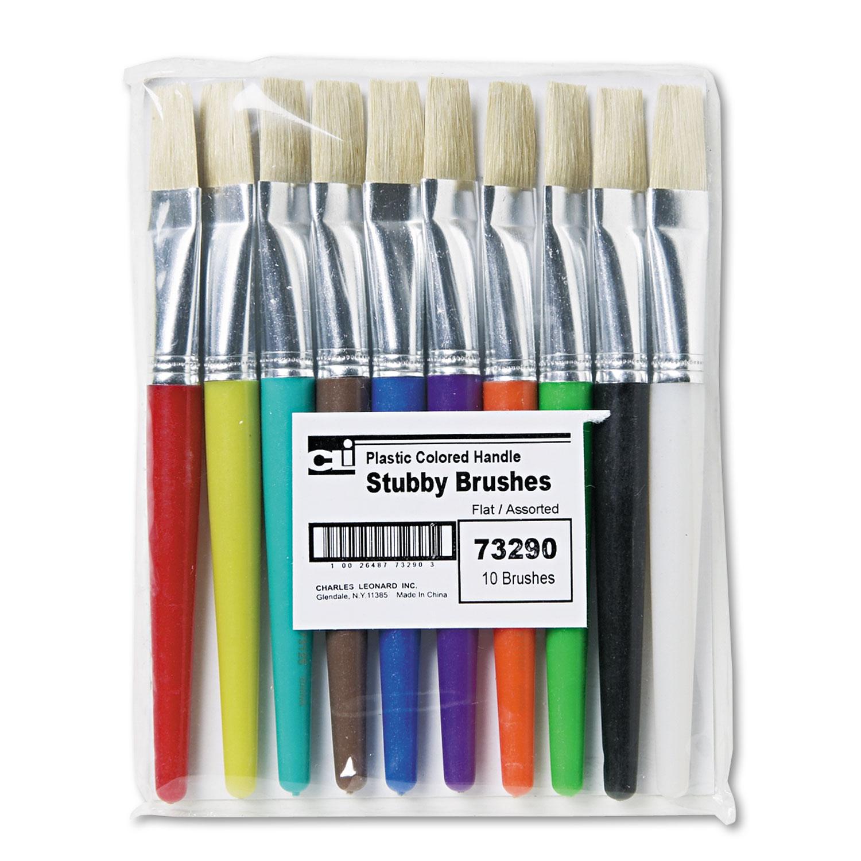 Stubby Brush Set, Natural Bristle, Flat, 10/Set