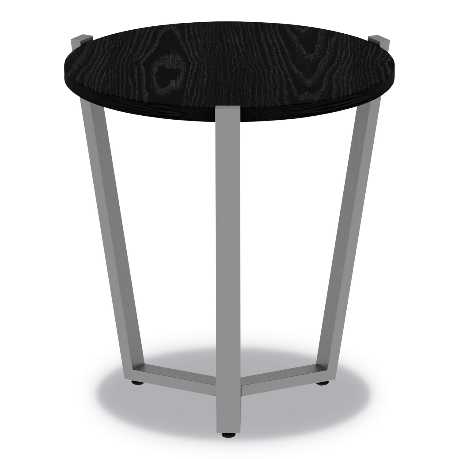 Beau Round Occasional Corner Table, 21 1/4 Dia X 22 3/4h, Black/Silver