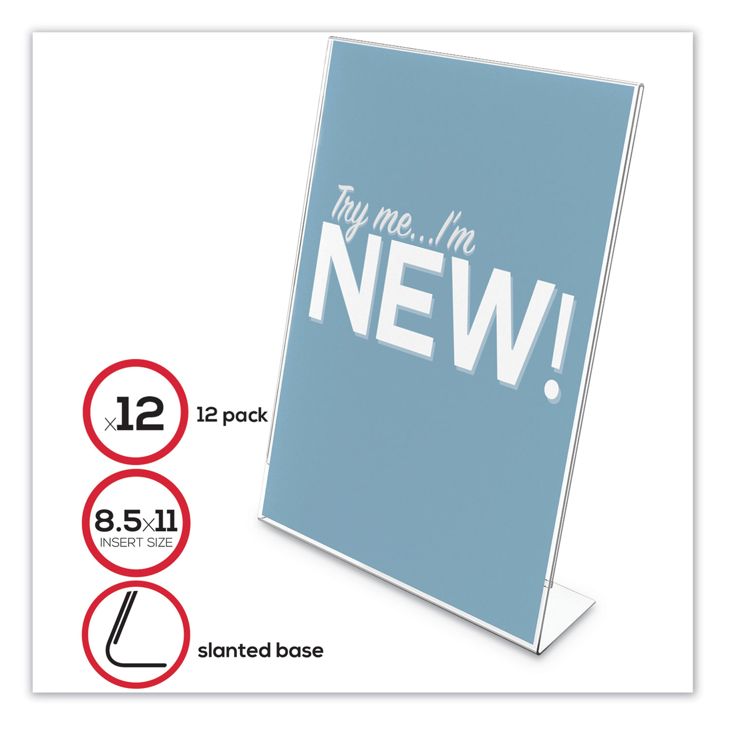"""Classic Image Slanted Sign Holder, 8 1/2"""" x 11"""", Clear Frame, 12/Pack"""