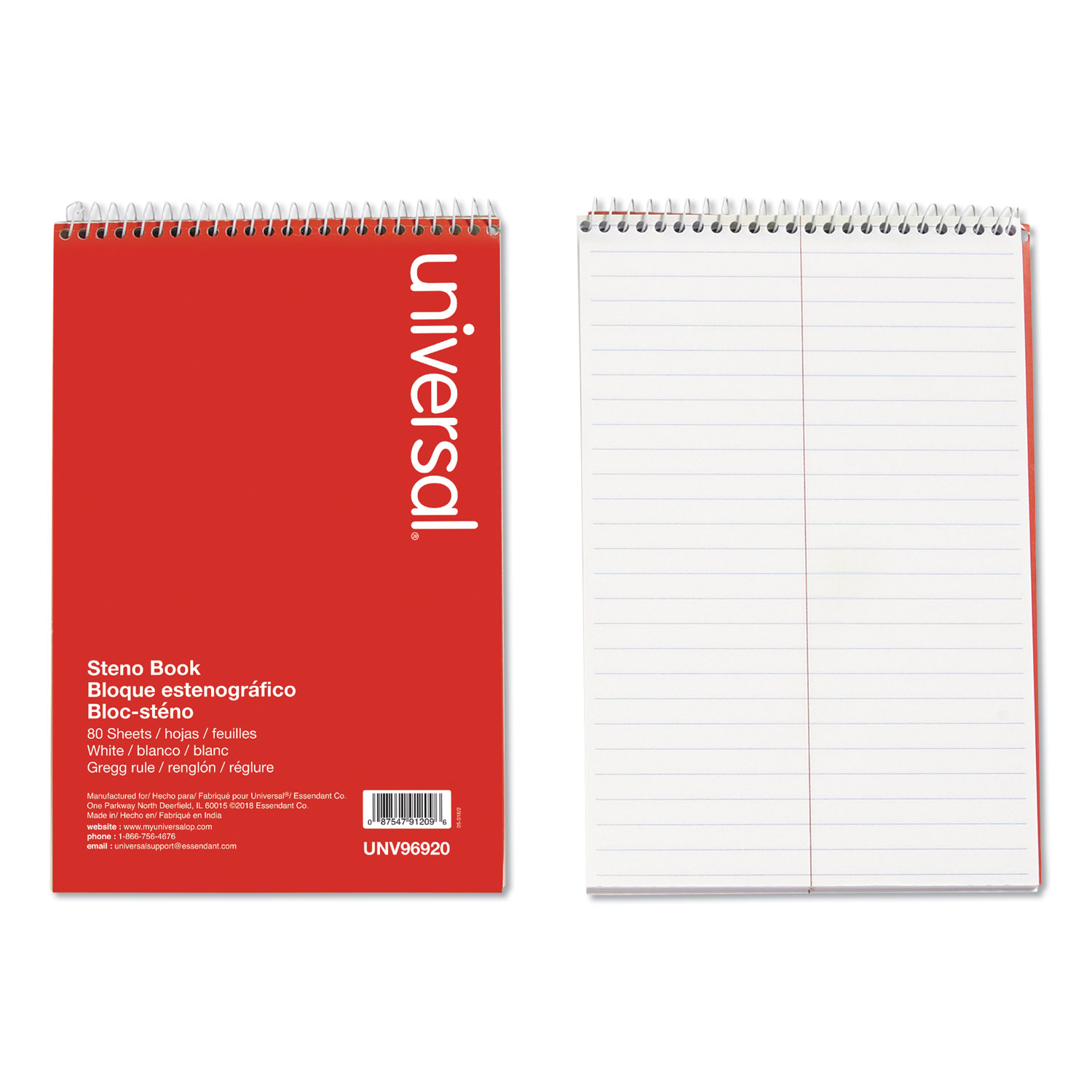 Steno Books, Gregg Rule, 6 X 9, White, 80 Sheets