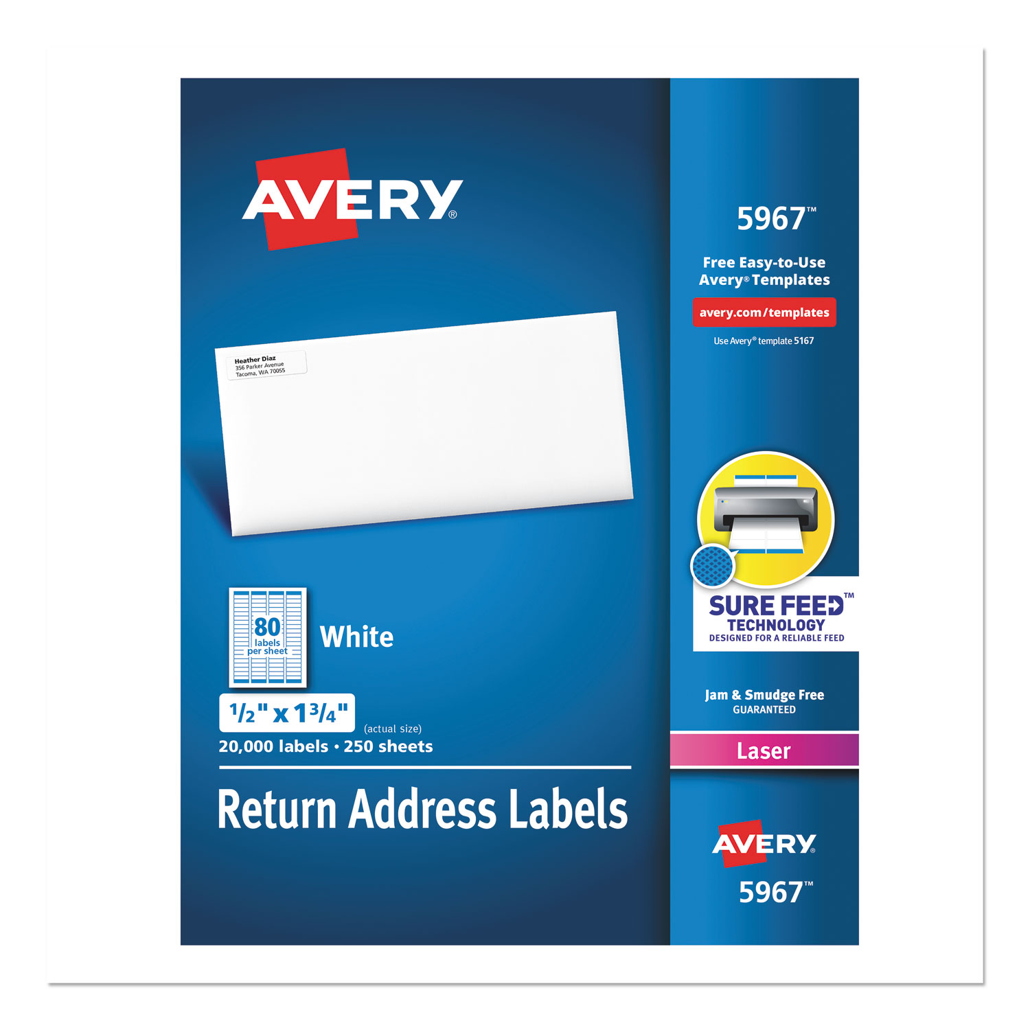 White Address Labels w/ Sure Feed Technology for Laser Printers, Laser Printers, 0.5 x 1.75, White, 80/Sheet, 250 Sheets/Box