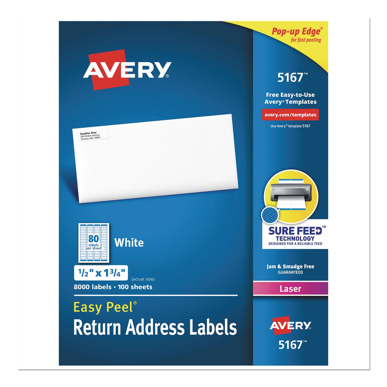 Easy Peel White Address Labels w/ Sure Feed Technology, Laser Printers, 0.5 x 1.75, White, 80/Sheet, 100 Sheets/Box
