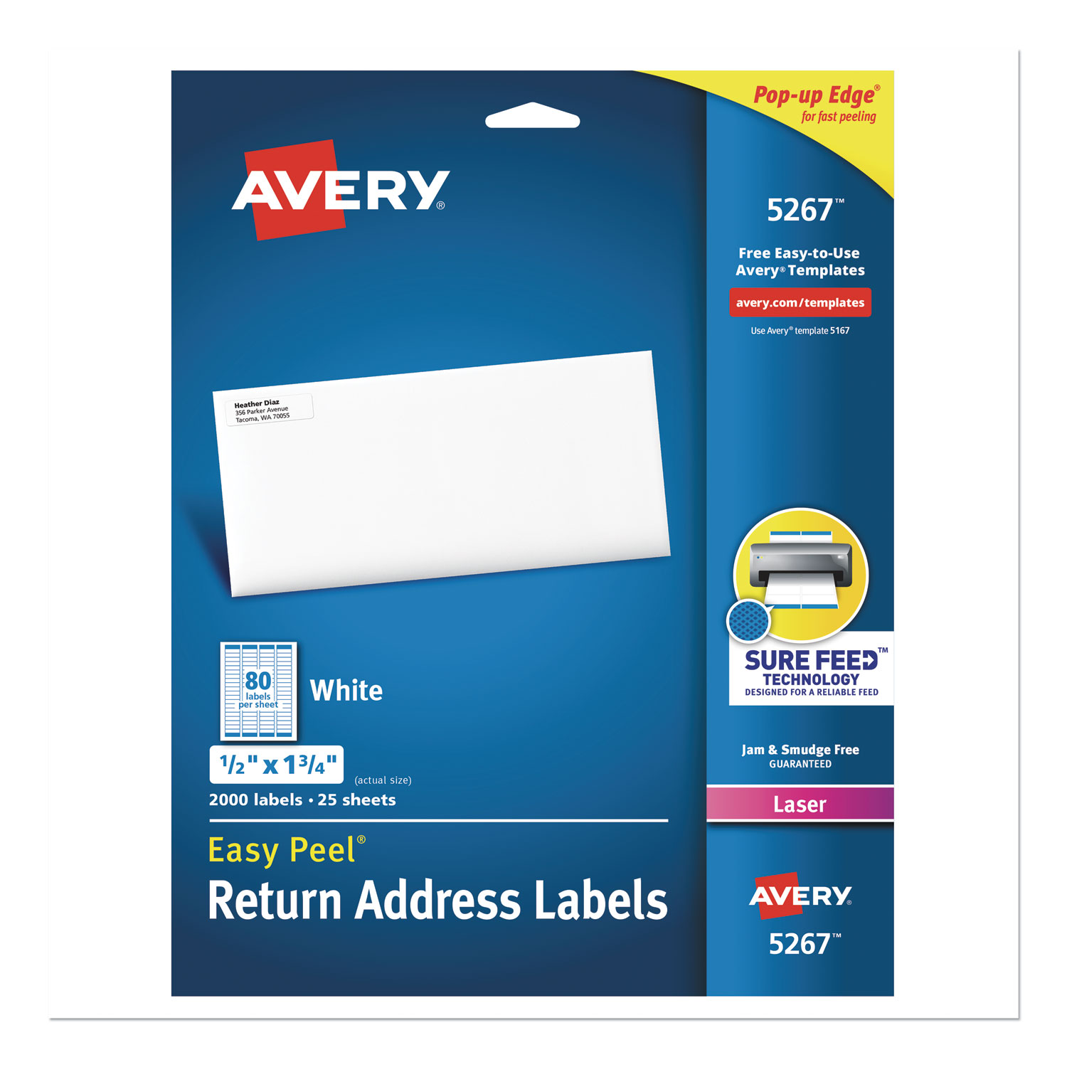 easy peel white address labels w   sure feed technology