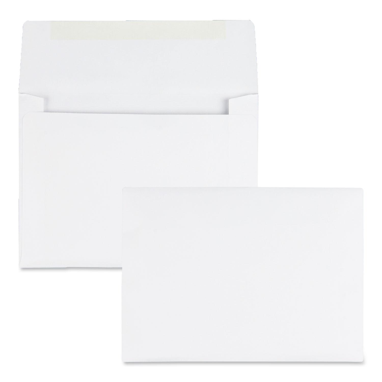 Greeting Card/Invitation Envelope, A-6, Square Flap, Gummed Closure, 4.75 x 6.5, White, 500/Box