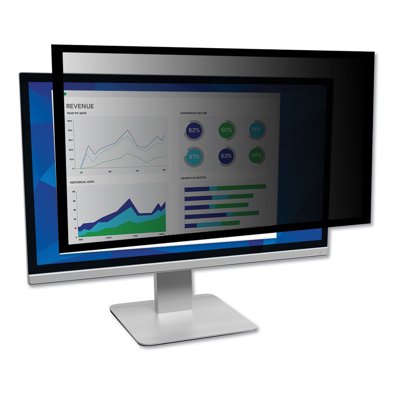 """Framed Desktop Monitor Privacy Filter for 27"""" Widescreen LCD, 16:9 Aspect Ratio"""