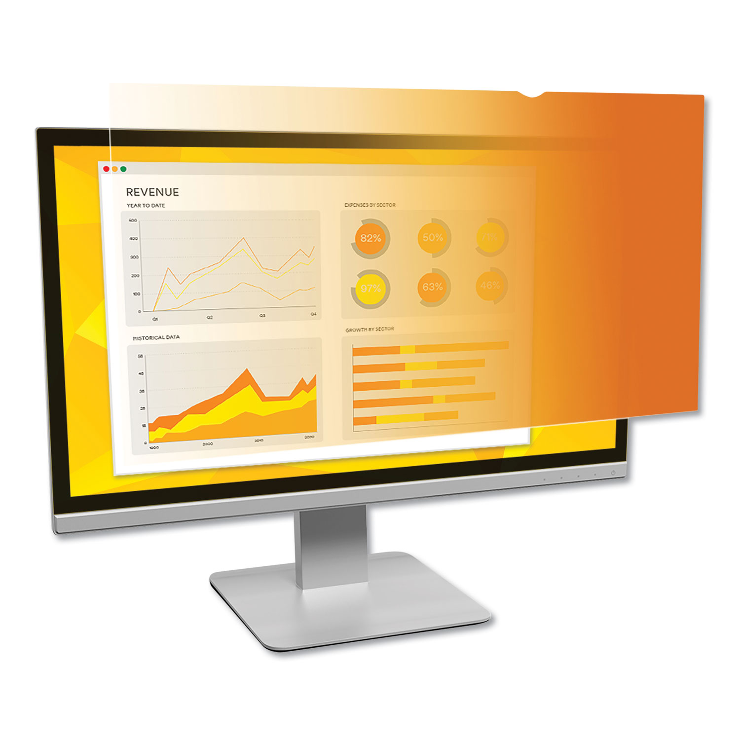 """Gold Frameless Privacy Filter for 22"""" Widescreen Monitor, 16:10 Aspect Ratio"""