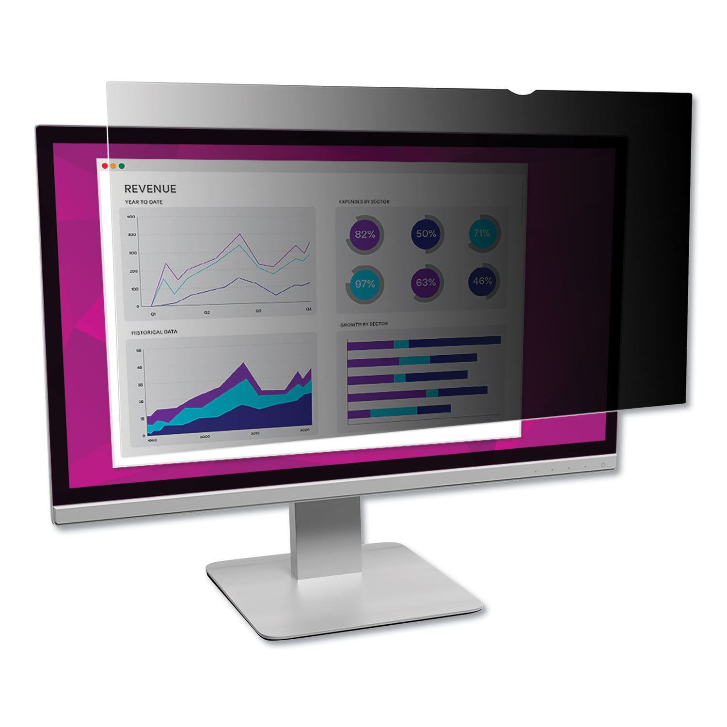 "High Clarity Privacy Filter for 22"" Widescreen Monitor, 16:10 Aspect Ratio"