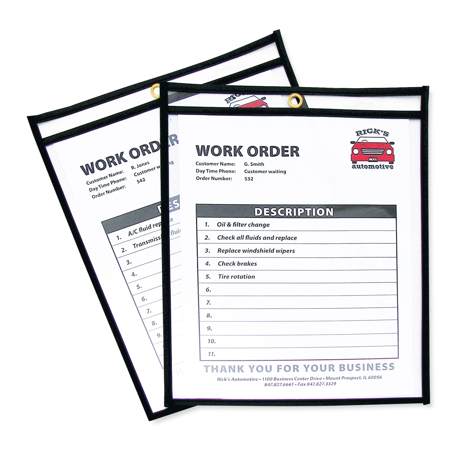 Shop Ticket Holders, Stitched, Both Sides Clear, 50 Sheets, 8 1/2 x 11, 25/Box