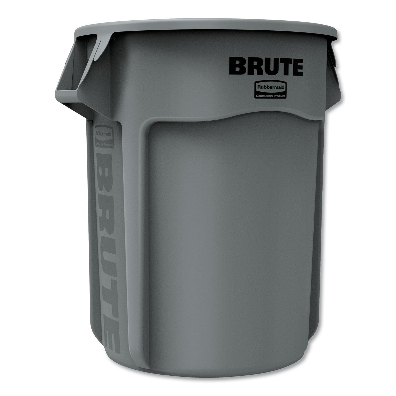 Round Brute Container, Plastic, 55 gal, Gray