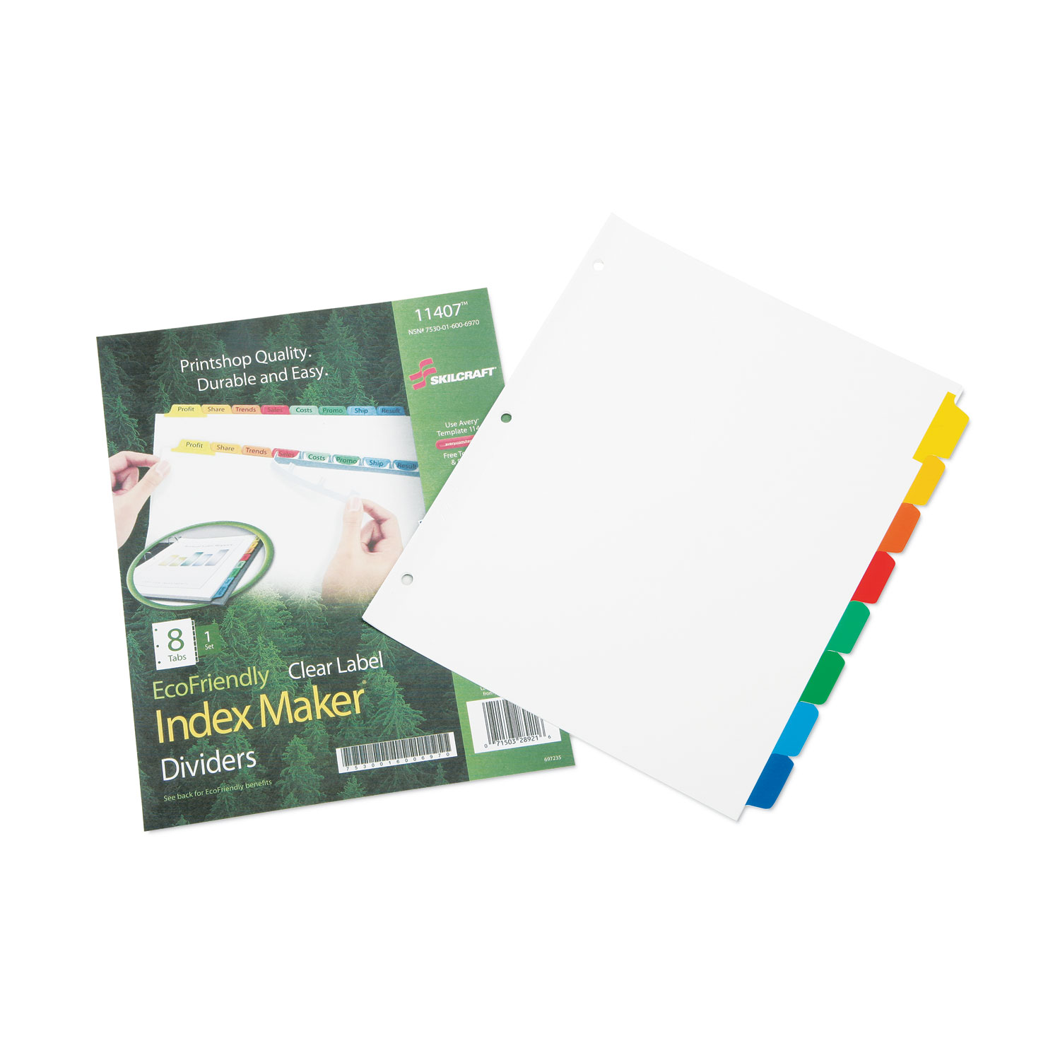 7530016006970, Avery Index Dividers, 8-Tab, Blank Tabs, Letter, Assorted, 1  Set